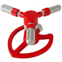 Three-arm plastic rotating sprinkler on heart base