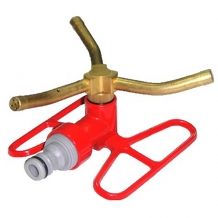 Three-arm brass rotating sprinkler on butterfly base